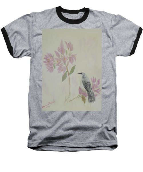 Bougainvillea And Mockingbird Baseball T-Shirt