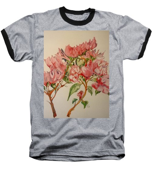 Baseball T-Shirt featuring the painting Bougainvillea by Iya Carson
