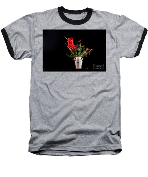 Bouquet In Red Baseball T-Shirt by Torbjorn Swenelius
