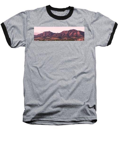 Boulder Colorado Flatirons 1st Light Panorama Baseball T-Shirt