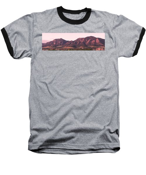Boulder Colorado Flatirons 1st Light Panorama Baseball T-Shirt