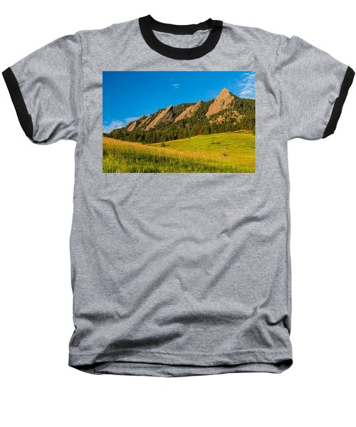 Boulder Colorado Flatirons Sunrise Golden Light Baseball T-Shirt