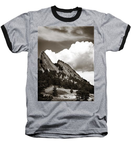 Large Cloud Over Flatirons Baseball T-Shirt