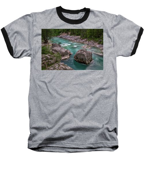 Baseball T-Shirt featuring the photograph Boulder In The River - Slovenia by Stuart Litoff