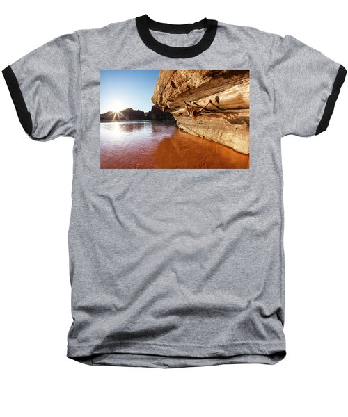 Bouldering Above River Baseball T-Shirt