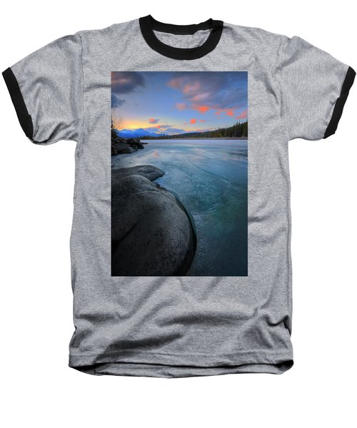 Baseball T-Shirt featuring the photograph Boulders And Ice On The Athabasca River by Dan Jurak