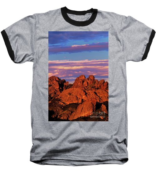 Boulders Sunset Light Pinnacles National Park Californ Baseball T-Shirt by Dave Welling
