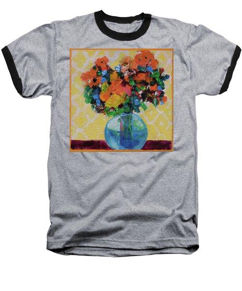 Bouquet-a-day #7 Original Acrylic Painting Free Shipping 59.00 By Elaine Elliott Baseball T-Shirt by Elaine Elliott
