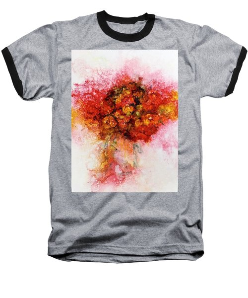 Baseball T-Shirt featuring the painting Bouquet In Red by Carolyn Rosenberger