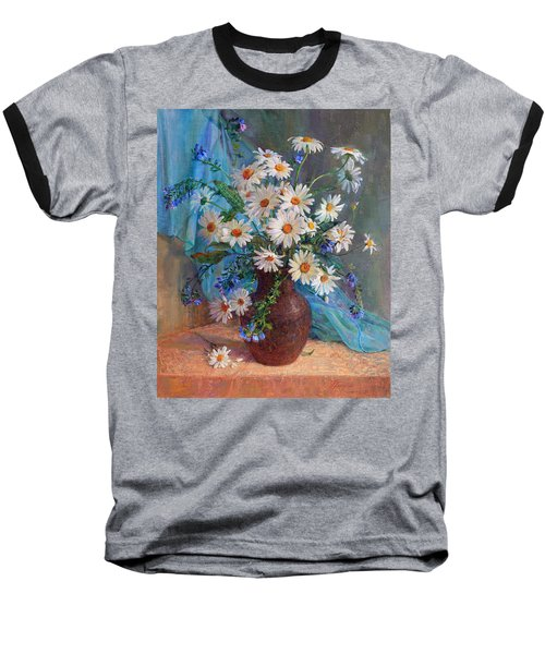 Bouquet Of Daisies In A Vase From Clay Baseball T-Shirt