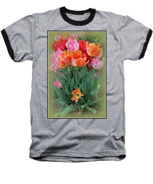 Bouquet Of Colorful Tulips Baseball T-Shirt by Dora Sofia Caputo Photographic Art and Design