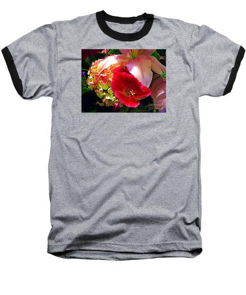 Baseball T-Shirt featuring the photograph Bouquet Of Lilies Poppy And Hydrangea by Merton Allen