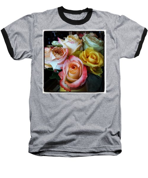 Baseball T-Shirt featuring the photograph Bouquet Of Mature Roses At The Counter by Mr Photojimsf