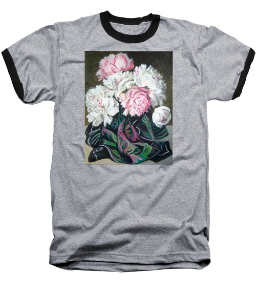 Baseball T-Shirt featuring the painting Bouquet Of Peonies by Laura Aceto