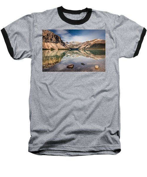Bow Lake Glorious Reflection Baseball T-Shirt by Pierre Leclerc Photography