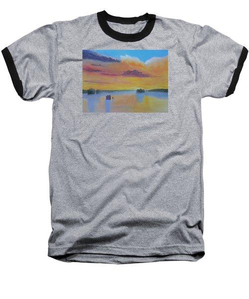 Bow Lake Ice Fishing Baseball T-Shirt