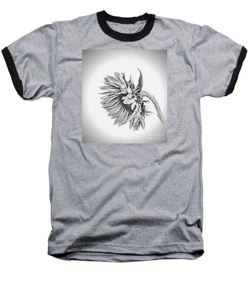 Baseball T-Shirt featuring the photograph Bowed Sunflower Bw by Shirley Mangini