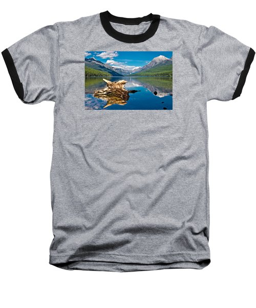 Bowman Lake 1, Glacier Nat'l Park Baseball T-Shirt