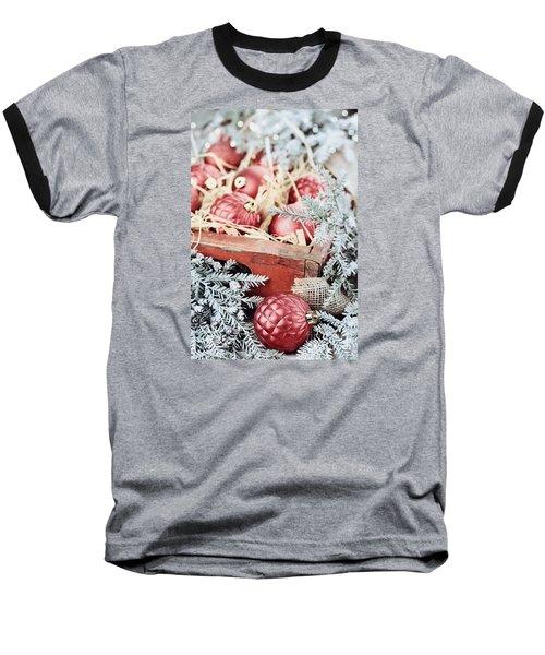Box Of Glass Christmas Ornaments Baseball T-Shirt