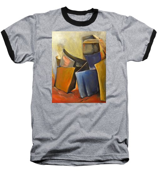 Baseball T-Shirt featuring the painting Box Scape by Nadine Dennis