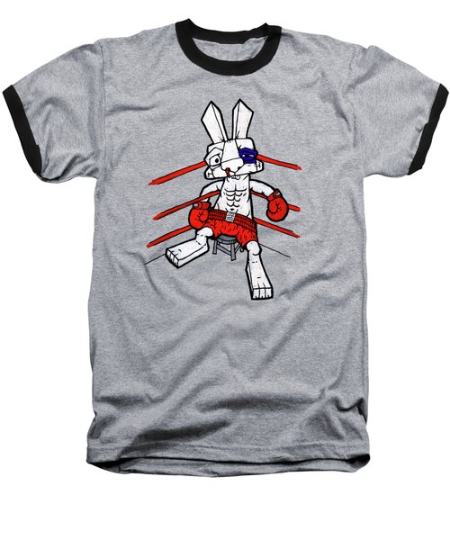 Boxer Bunny Baseball T-Shirt by Bizarre Bunny