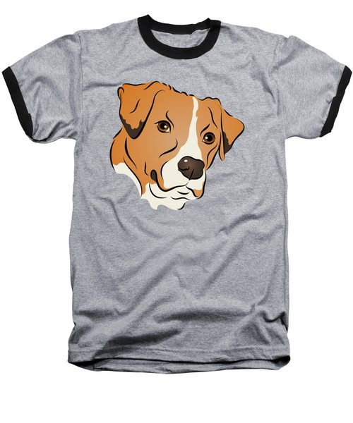 Boxer Mix Dog Graphic Portrait Baseball T-Shirt by MM Anderson