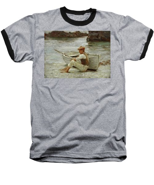 Baseball T-Shirt featuring the painting Boy And Boat  by Henry Scott Tuke