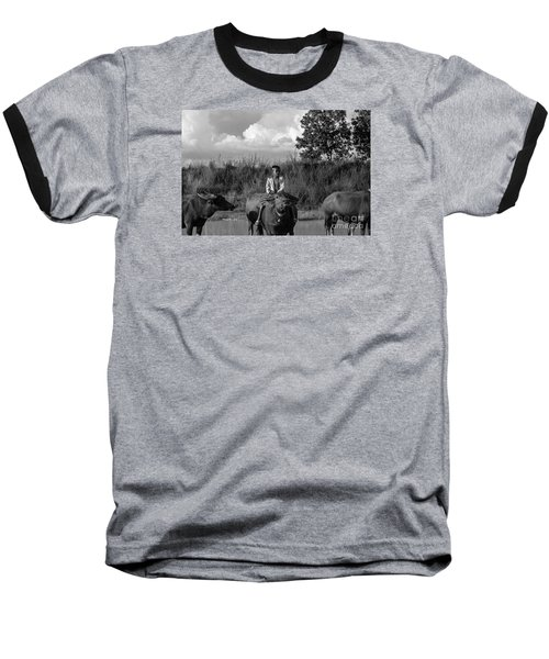 Baseball T-Shirt featuring the photograph Boy And Cows by Arik S Mintorogo