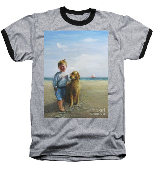 Baseball T-Shirt featuring the painting Boy And His Dog At The Beach by Oz Freedgood