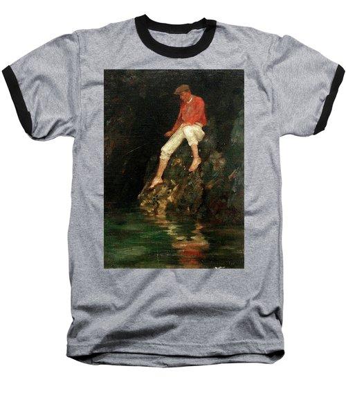 Baseball T-Shirt featuring the painting Boy Fishing On Rocks  by Henry Scott Tuke