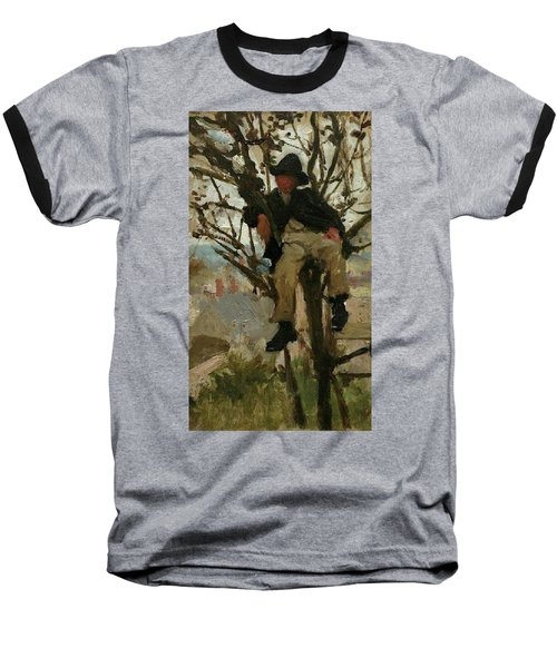 Baseball T-Shirt featuring the painting Boy In A Tree by Henry Scott Tuke