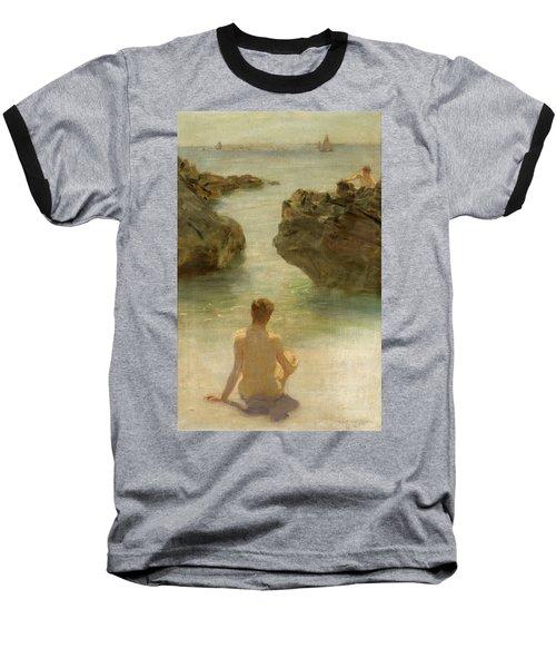Baseball T-Shirt featuring the painting Boy On A Beach, 1901 by Henry Scott Tuke