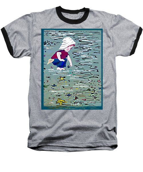 Baseball T-Shirt featuring the painting Boy On Beach by Desline Vitto