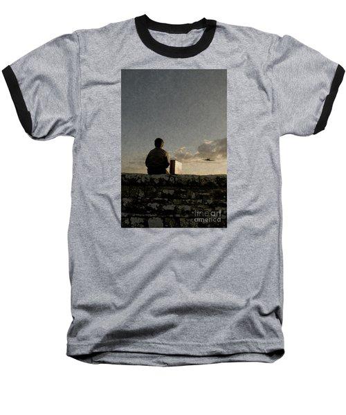 Boy On Wall Baseball T-Shirt