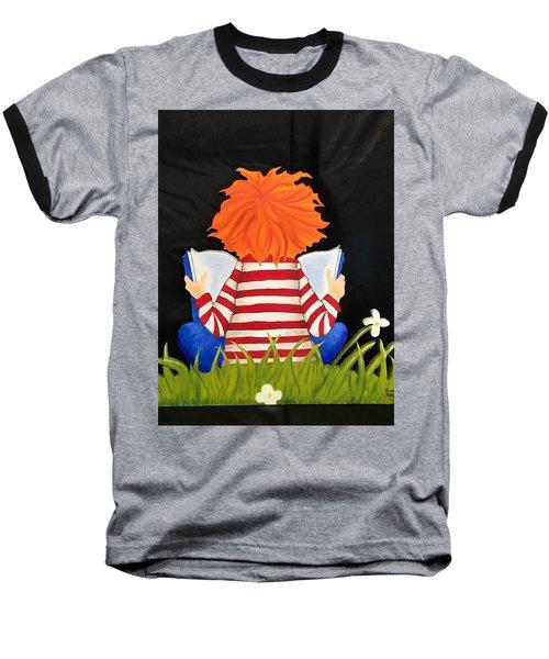 Boy Reading Book Baseball T-Shirt