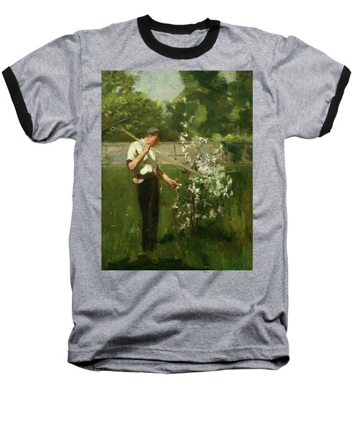 Baseball T-Shirt featuring the painting Boy With A Grass Rake by Henry Scott Tuke
