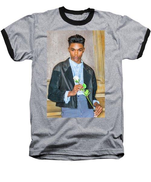 Boy With White Rose 15042618 Baseball T-Shirt
