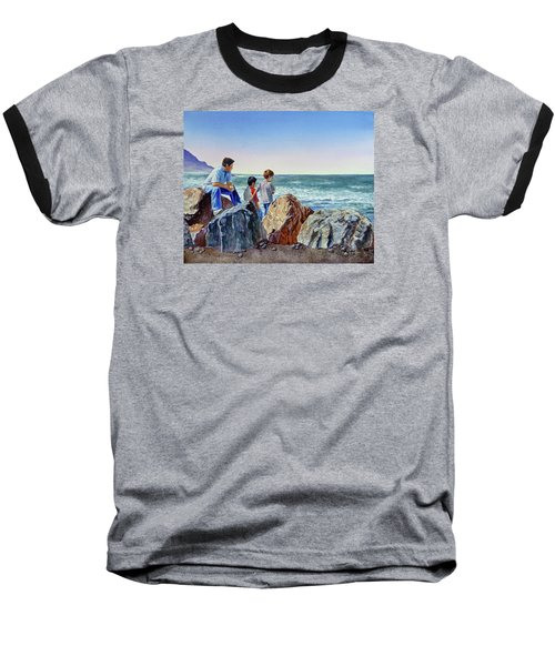 Baseball T-Shirt featuring the painting Boys And The Ocean by Irina Sztukowski