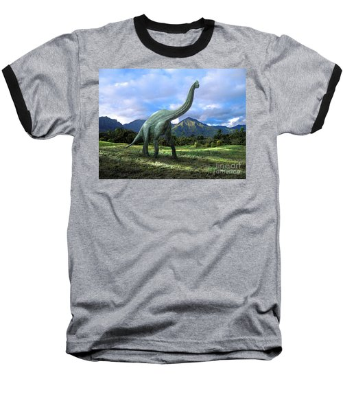 Brachiosaurus In Meadow Baseball T-Shirt