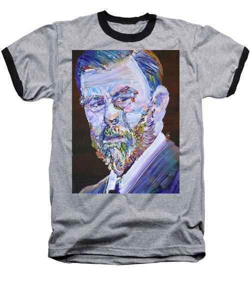 Baseball T-Shirt featuring the painting Bram Stoker - Oil Portrait by Fabrizio Cassetta