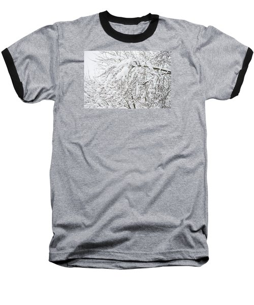 Baseball T-Shirt featuring the photograph Branches Weighted With Snow by Deborah Smolinske