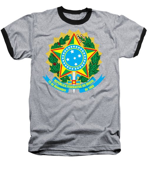 Baseball T-Shirt featuring the drawing Brazil Coat Of Arms by Movie Poster Prints