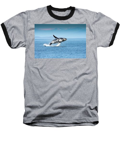 Breaching Humpback Whales Happy-4 Baseball T-Shirt