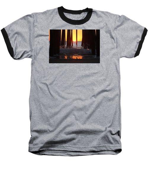 Breaking Dawn At The Pier Baseball T-Shirt by Robert Banach