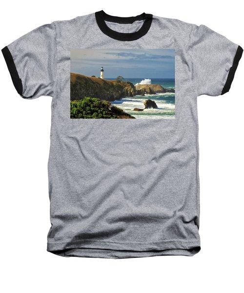 Breaking Waves At Yaquina Head Lighthouse Baseball T-Shirt
