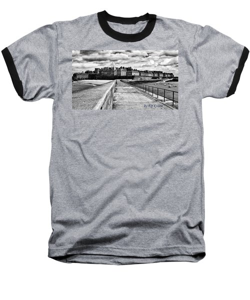 Baseball T-Shirt featuring the photograph Breakwater Walkway To Intra Muros by Elf Evans