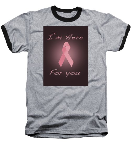 Breast Cancer Baseball T-Shirt by Jim  Hatch