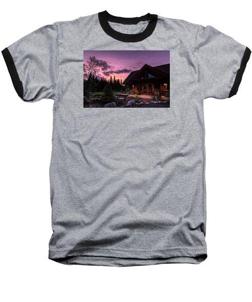 Breck Nordic Lodge Sunset Baseball T-Shirt by Michael J Bauer