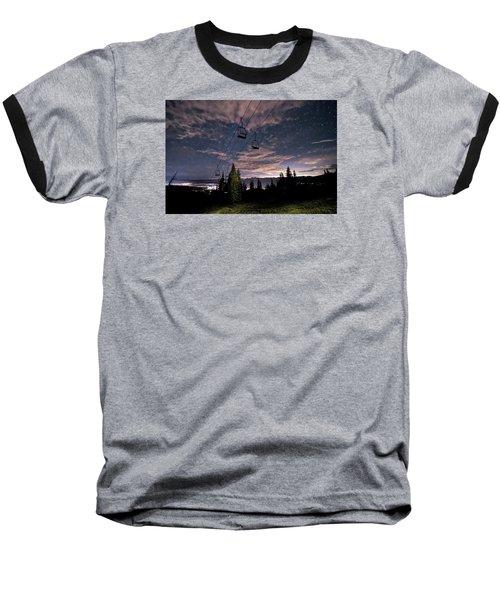 Breckenridge Chairlift Under Stars Baseball T-Shirt by Michael J Bauer