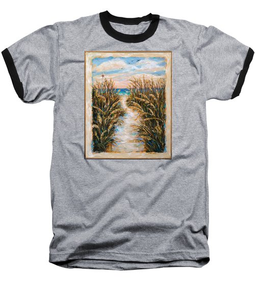 Baseball T-Shirt featuring the painting Breezy Sea Oats by Linda Olsen